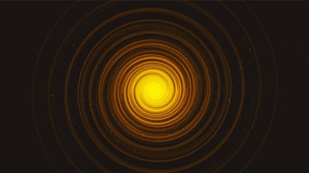 Agujero negro en espiral de luz dorada sobre fondo de galaxia negra.diseño de concepto de planeta y física, ilustración.