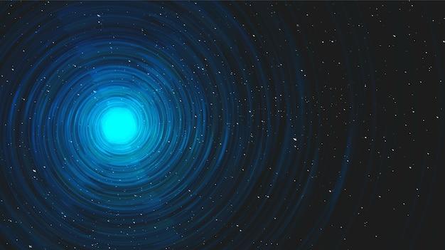 Agujero negro en espiral de luz ultra azul sobre fondo de galaxia.