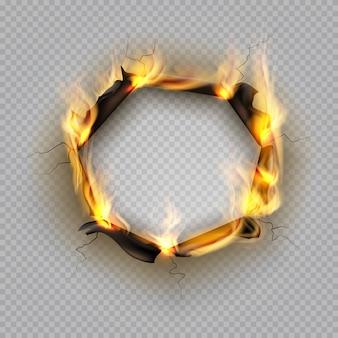 Agujero de papel quemado. efecto de borde de llama efecto quemado rasgado borde de explosión página destruida marco agrietado por calor