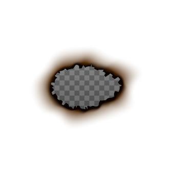 Agujero de papel quemado con interior transparente en blanco - marco realista sobre fondo blanco. forma ovalada pintada con bordes rasgados y rastro de fuego - ilustración.