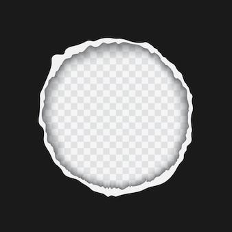 Agujero en papel rasgado negro con ilustración de vector realista de bordes rasgados, plantilla para banner de promoción de publicidad de venta de viernes negro aislado sobre fondo transparente