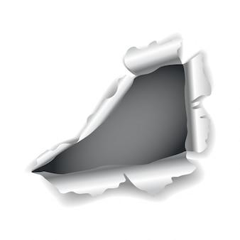 Agujero de papel. vector realista papel rasgado con bordes rasgados. daño de papel con lados doblados