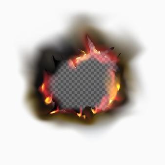 Agujero quemado realista en papel con fuego y ceniza negra. quema de papel negro en estilo vintage sobre fondo transparente. marco de llama de fuego
