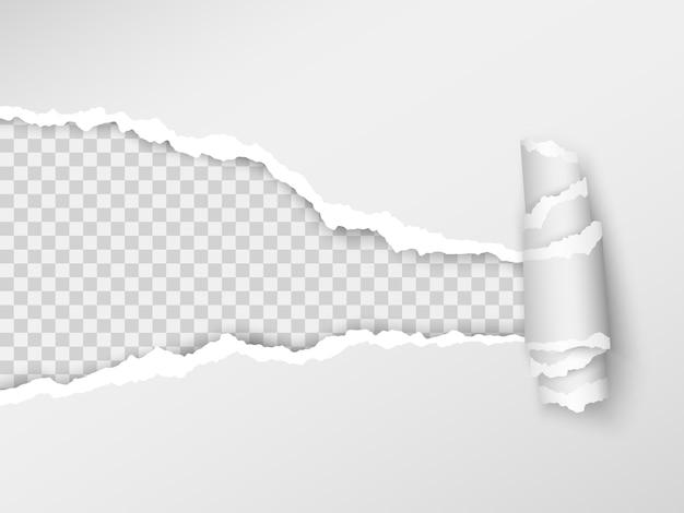 Agujero realista en la hoja de papel sobre un fondo transparente