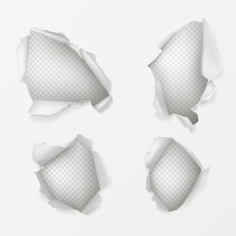 Agujeros en hoja de papel blanco conjunto realista.