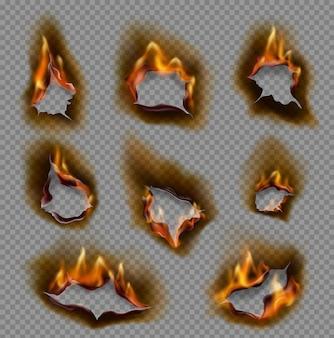 Agujeros de papel ardientes, llamas de fuego realistas