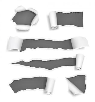 Agujeros de papel rasgados. rasgaduras promocionadas, páginas rasgadas, corte de papel y notas de plantilla realista