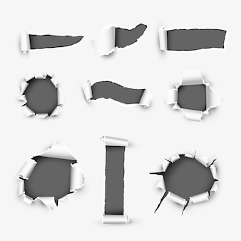 Agujeros realistas en papel blanco