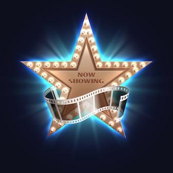Ahora mostrando el fondo de vector de película con la estrella de cine de hollywood