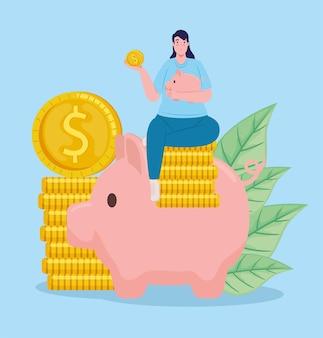 Ahorrador femenino levantando ahorros alcancía sentado en monedas con ilustración de hojas
