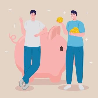 Los ahorradores masculinos con ahorros alcancía y monedas de dólares, diseño de ilustraciones vectoriales