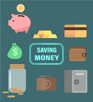Ahorrando dinero con hucha, caja fuerte, oro y billetera.