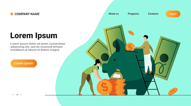 Ahorrar dinero concepto financiero. gente de dibujos animados insertando dinero en efectivo en la alcancía, obteniendo e invirtiendo ingresos