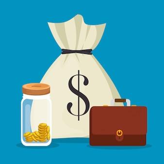 Ahorrar dinero establecer iconos