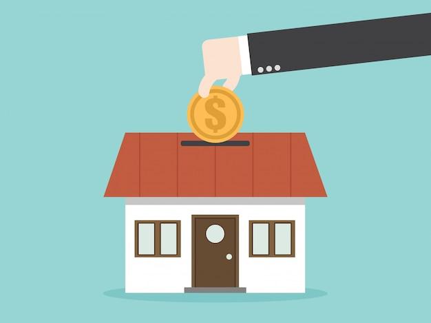 Ahorrar dinero para la propiedad de la casa.