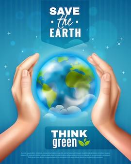 Ahorre el cartel de la ecología de la tierra