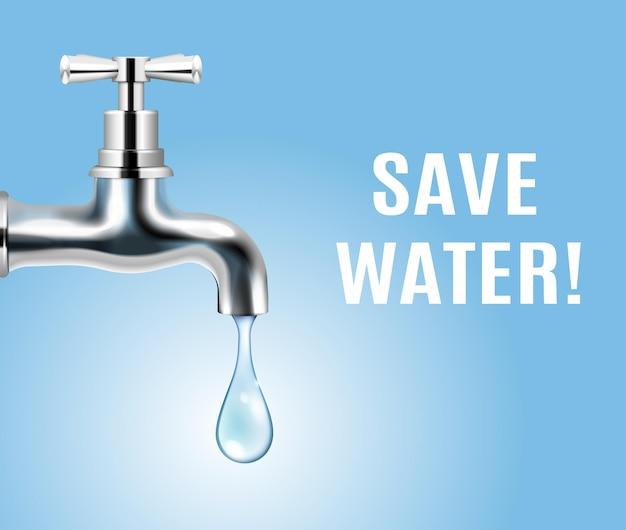 Ahorre el concepto de ecología del agua con una gota de agua que sale del grifo realista