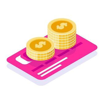 Ahorre dinero en el banco. pila de monedas en el fondo de la tarjeta bancaria