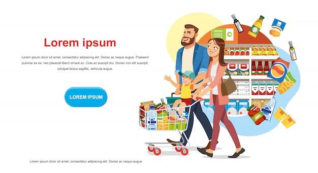 Ahorre dinero con descuento en banner de vector de tienda de alimentos