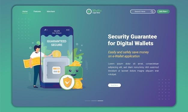 Ahorre dinero con garantías seguras en la billetera digital en la plantilla de página de destino