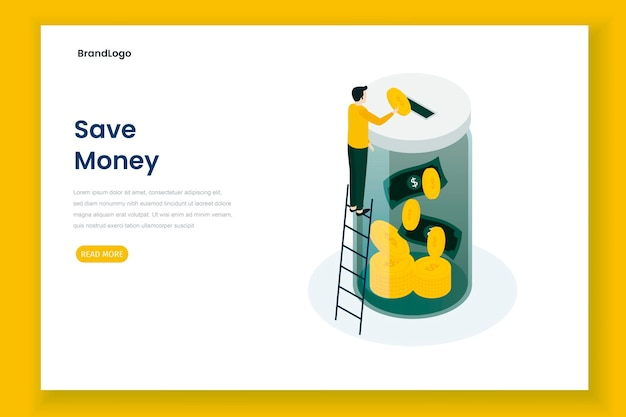 Ahorre dinero página de inicio de ilustración