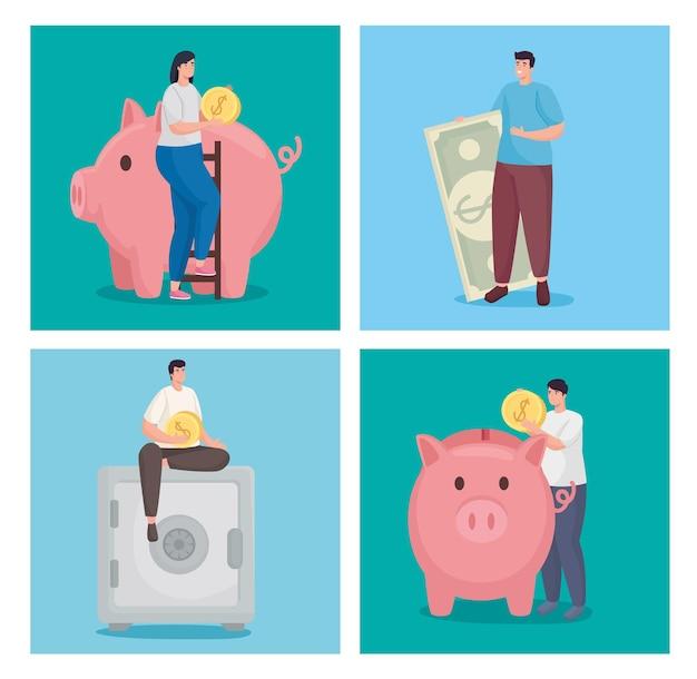 Ahorre dinero y personas con la colección de monedas.