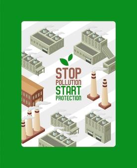 Ahorre ecología, proteja el cartel del medio ambiente. detener la contaminación, iniciar la protección. fábrica de tubos de ciudad con humo. smog industrial