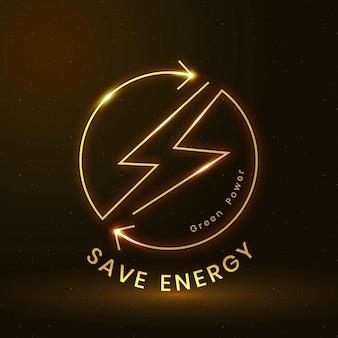 Ahorre energía vector logo ambiental con texto de energía verde