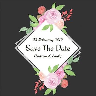 Ahorre la fecha acuarela floral marco con hermosas rosas