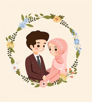 Ahorre la fecha caricatura linda pareja musulmana con corona de flores para la tarjeta de invitación de boda