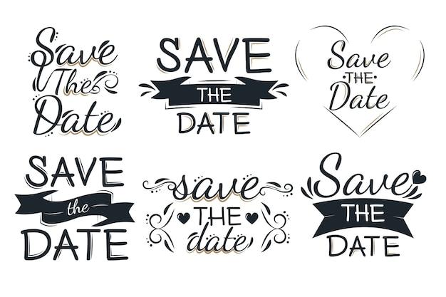 Ahorre la fecha conjunto de letras encantadoras