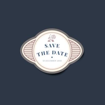 Ahorre la fecha etiqueta de la etiqueta engomada del vintage de la invitación de la boda