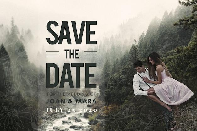 Ahorre la fecha pareja con un paisaje increíble