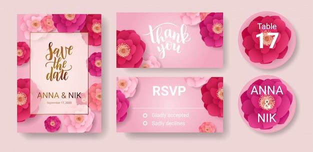 Ahorre la fecha postal de letras a mano con flores de color rosa. gracias, plantilla de tarjetas rsvp.