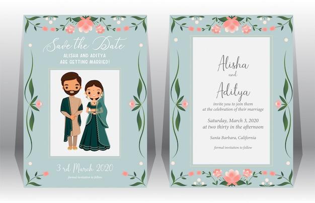 Ahorre la fecha, tarjeta de boda india con linda novia y novio en traje tradicional en plantilla de tarjeta de invitación de boda
