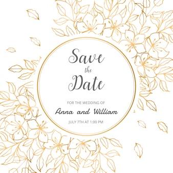 Ahorre la fecha de la tarjeta de invitación de boda con flores doradas, hojas y ramas