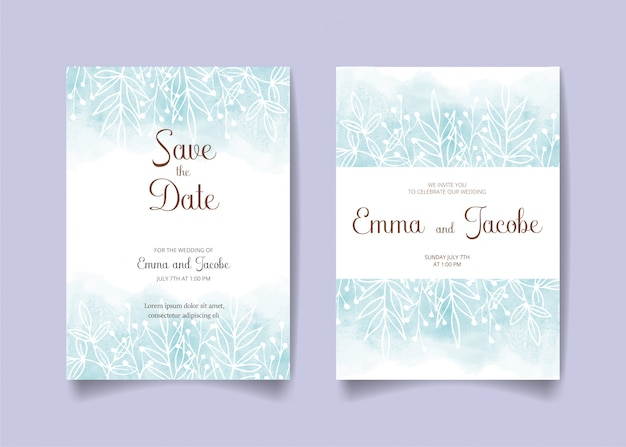 Ahorre la fecha, tarjeta de invitación de boda con fondo de acuarela, hojas y ramas.