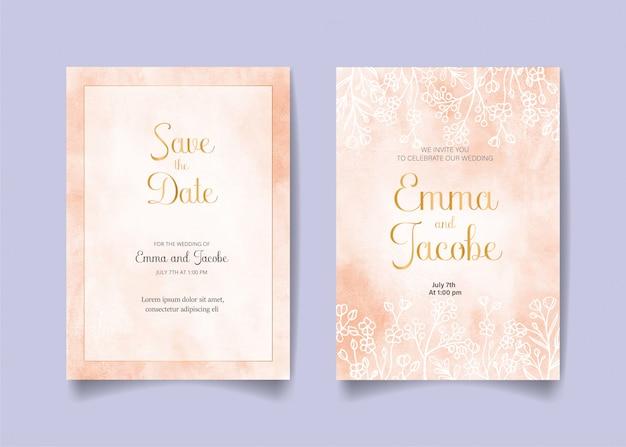 Ahorre la fecha, tarjeta de invitación de boda con fondo rosa acuarela, hojas y ramas.
