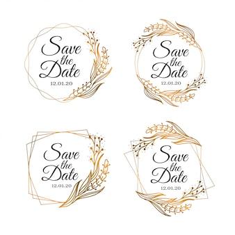 Ahorre la fecha tarjetas florales de oro y colección de invitación.