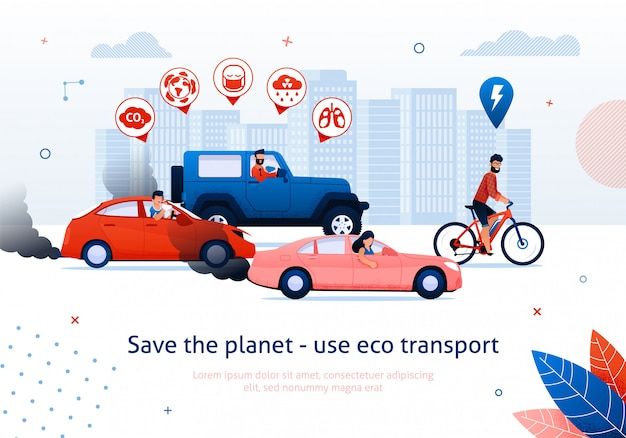 Ahorre planeta use el transporte ecológico bicicleta de hombre