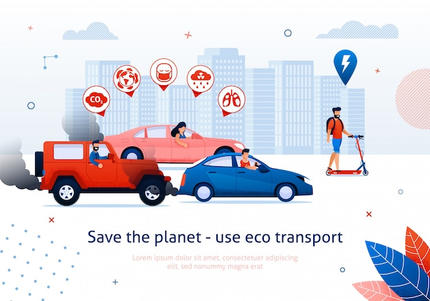 Ahorre planeta use el transporte ecológico. scooter eléctrico de hombre. la gente conduce el ejemplo del vector del coche del motor de gasolina.
