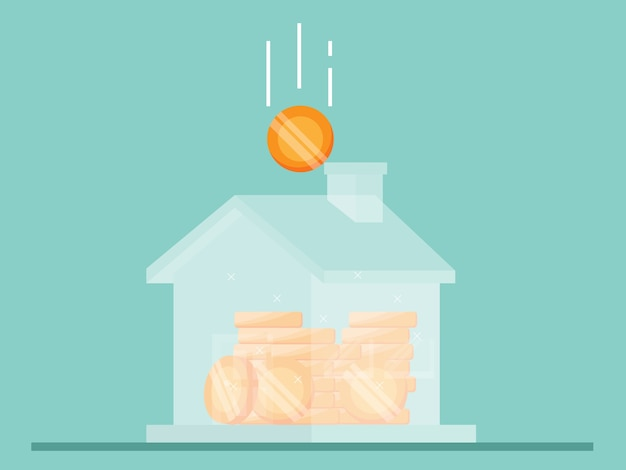 Ahorro para casa ilustración plana