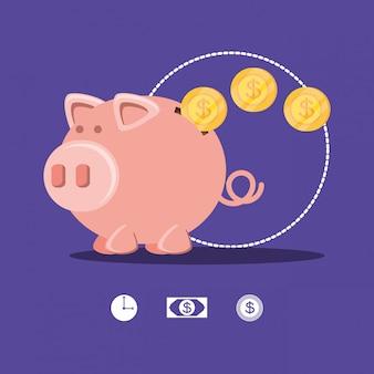 Ahorro de cerdito y monedas icono aislado