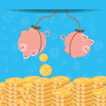 Ahorro colgando alcancía y monedas icono aislado