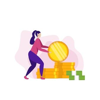 Ahorro de dinero y banner de motivación de inversión