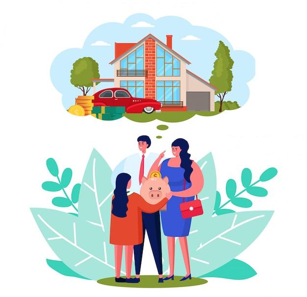 Ahorro de dinero familiar, ilustración. madre mujer y hombre padre hacen ingresos financieros para el futuro hogar de la hija. finanzas