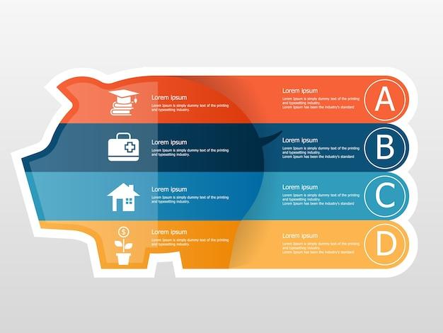 Ahorro de dinero con ilustración de infografías de alcancía plana