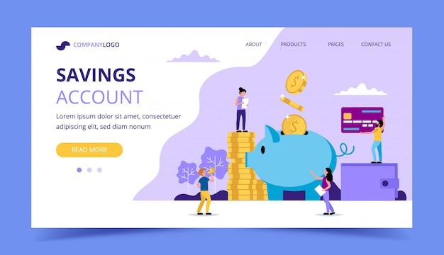Ahorro de dinero en la página de destino