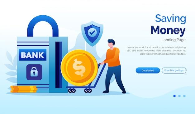 Ahorro de dinero plantilla de ilustración plana del sitio web de la página de destino