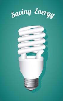 Ahorro de energía, bombilla en azul
